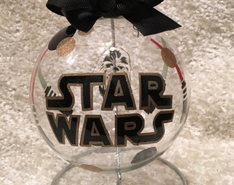 "Custom Hand decorated Disney Star Wars 4"" glass Christmas ornament"