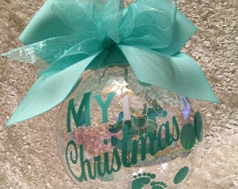 """Custom Hand decorated Baby's 1st Christmas Ornament 4"""" Glass Free Personalization"""