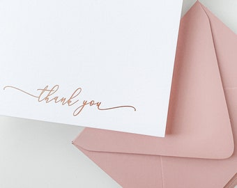 Rose Gold Foil Pressed Thank You Cards / Rose Gold Wedding Cards