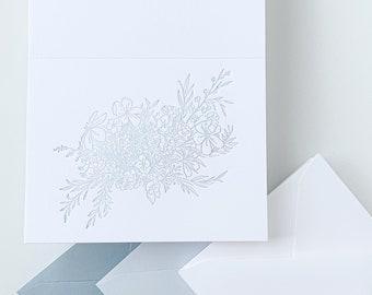 Light Blue Letterpress Note Cards / Dusty Blue Wedding Note Cards