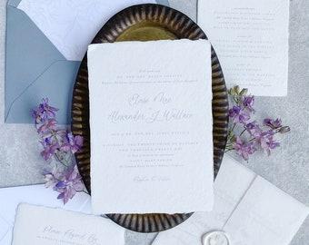 Dusty Blue Wedding Invitations, Handmade Paper, Deckled Edge Paper, Minimal Wedding Invitation, Romantic Invitation SAMPLE