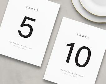 Printed Modern Table Numbers, Simple Table Number Cards, Wedding Table Numbers, Reception Table Numbers - Matilda