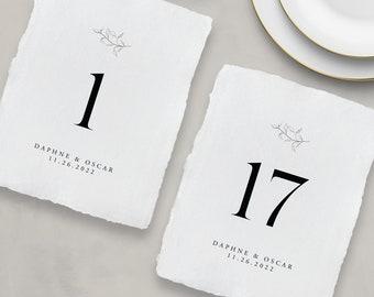 Printed handmade paper Table Numbers, Simple Table Number Cards, Wedding Table Numbers, Reception Table Numbers - Daphne