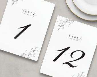Printed Floral Table Numbers, Simple Table Number Cards, Wedding Table Numbers, Reception Table Numbers - Jude
