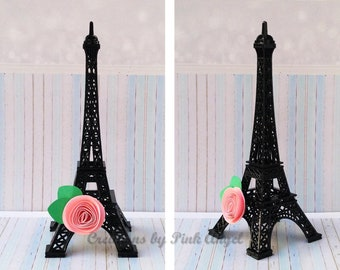 6 Inch Black Eiffel Tower Cake Topper Paris Theme Party Decorations Baby Shower With Flower