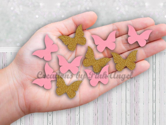 100 Fushia PINK WHITE large Perfect Hand punched Butterfly butterflies Paper 3D