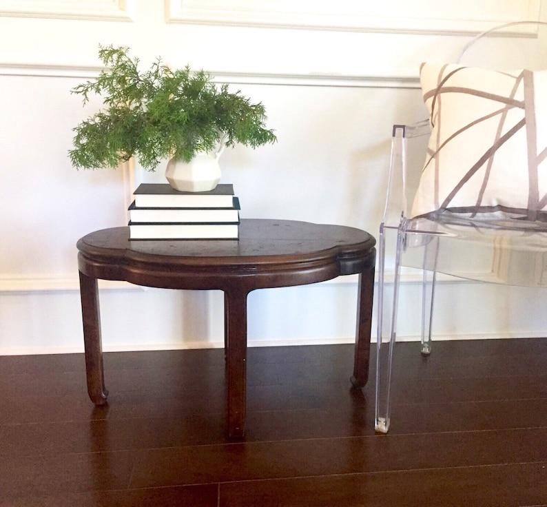 Mid Century Quatrefoil End Table With Burl Wood Top Vintage Etsy