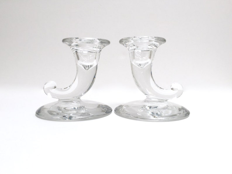 Honesty Vintage Double Candle Holders Pair Clear Pressed Glass Star Sides Double Design Glass Antiques