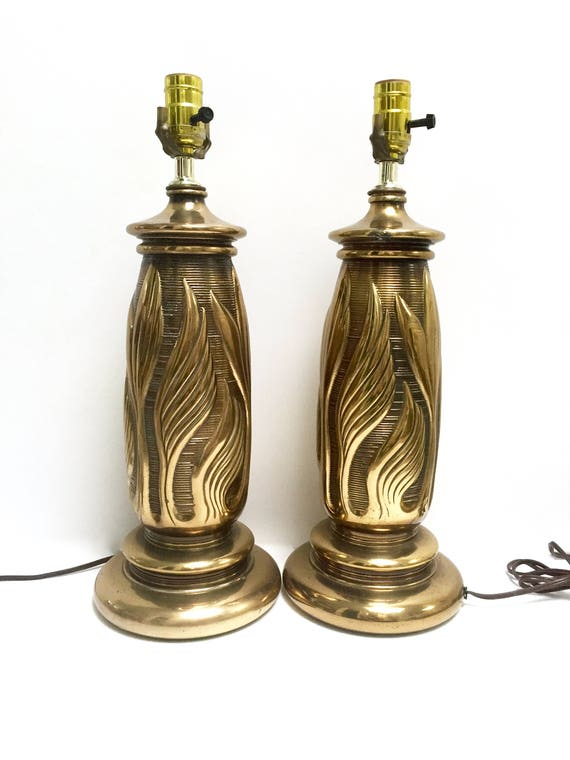 Solid Brass Table Lamps A Pair Leaf Motif Flames Etsy