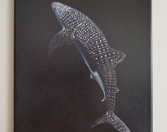 Original Pointillism Illustration on canvas: Whale Shark Profile by Christie A. Langley