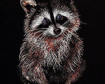 Fine Art Print of Pointillism Illustration: Raccoon by Christie A. Langley