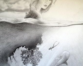 "Fine Art Print of Original Illustration - ""Dive Deep"" by Christie Anne Langley"