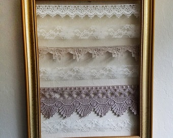 Medium Gold Re-Purposed Frame and Lace Earring Holder