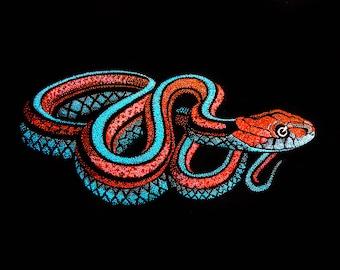 Fine Art Print of Pointillism Illustration: San Francisco Garter Snake by Christie A. Langley