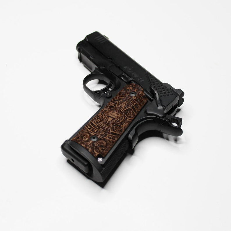 DURAGRIPS - Compact Officers Colt Kimber RIA STI 1911 Mayan Wood Grips -  Aztec Calendar