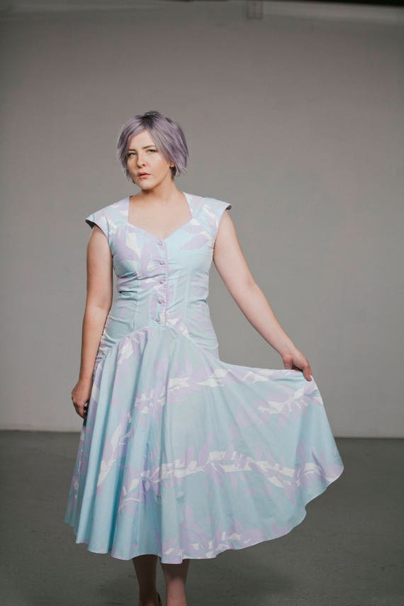 1980's Vintage Pastel Blue Dress