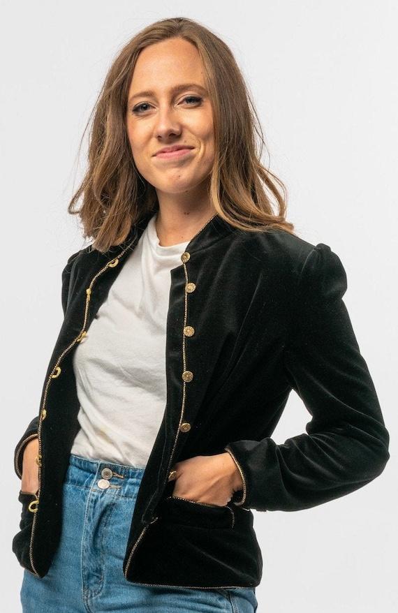 1960s Black Velvet Military Jacket