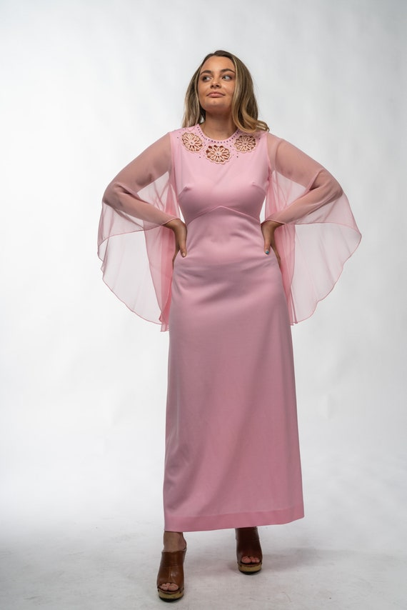 1960s Pink Gown with Chiffon Sleeves