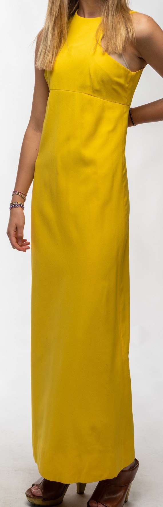 1990s Vintage Yellow Gown - image 10