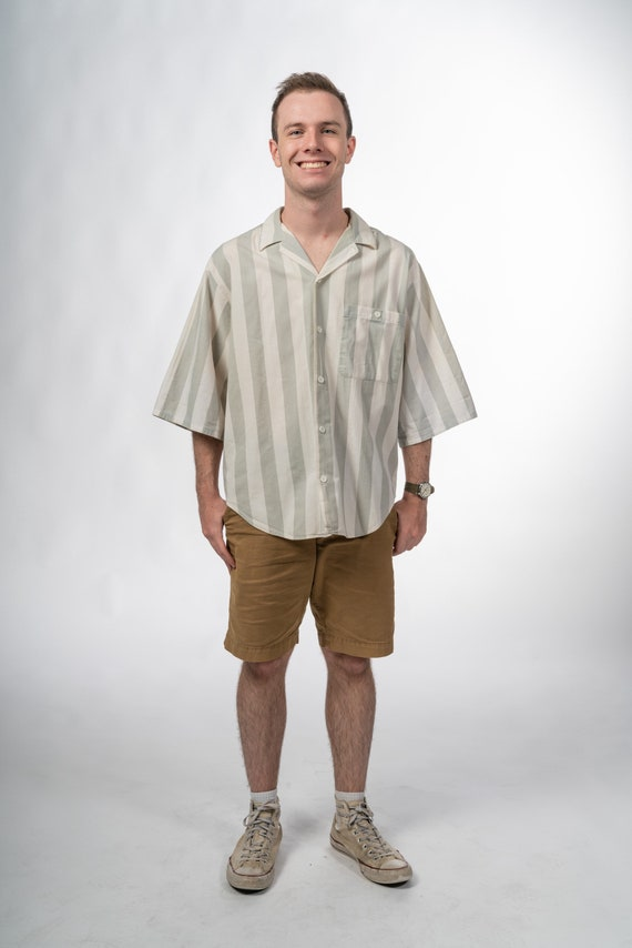 1990s Vintage Mens Striped Shirt