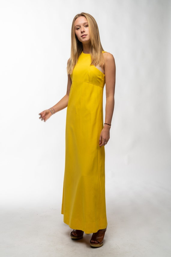1990s Vintage Yellow Gown - image 5