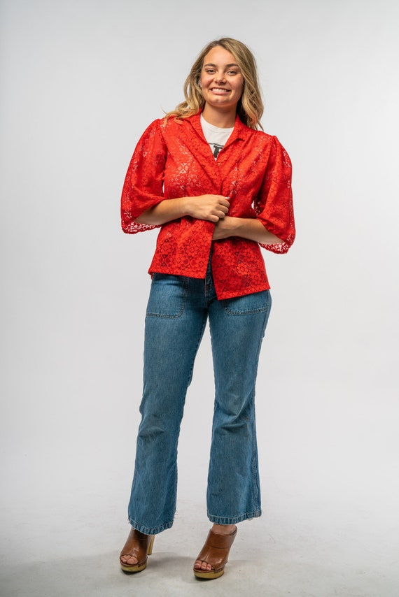 1960s Vintage Red Lace Blouse