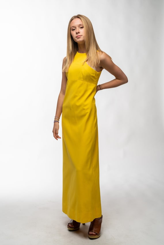 1990s Vintage Yellow Gown - image 2