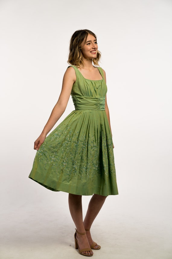1950's Green Embroidered Dress