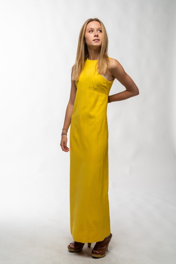 1990s Vintage Yellow Gown - image 8