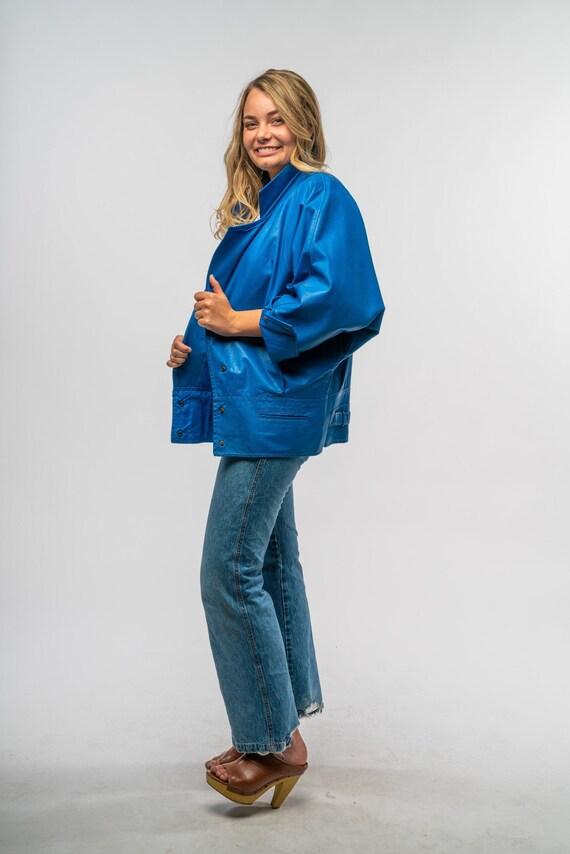 1980s Blue Leather Jacket