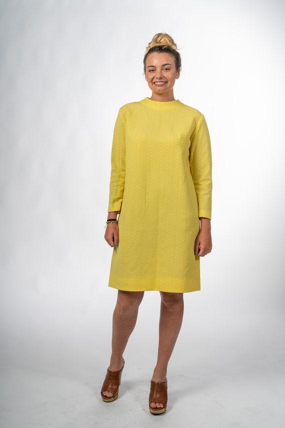 1960s Yellow Mandarin Collar Dress