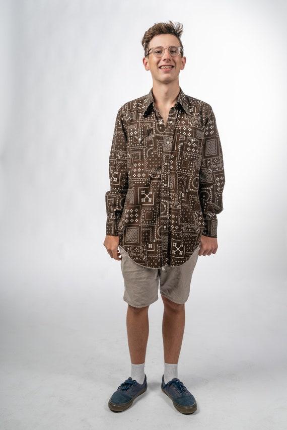 1970s Mens Vintage Brown Shirt