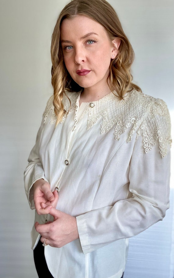 1990s Ivory Victorian Blouse