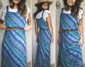 Vintage 90s // TURQOISE PINAFORE MAXIDRESS // Ocean Shades Gypsy Folk Dress // Bohemian Easy Breezy Dress // Size S-M