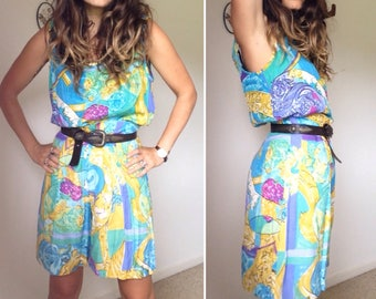 Vintage 80s // ABSTRACT PRINTED TWINSET // Two Piece Festive Bohemian Artist Shorts & Tank Set // Size M