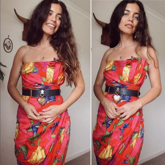 Vintage 80s // STRAPLESS PARTY DRESS // Bold Flora