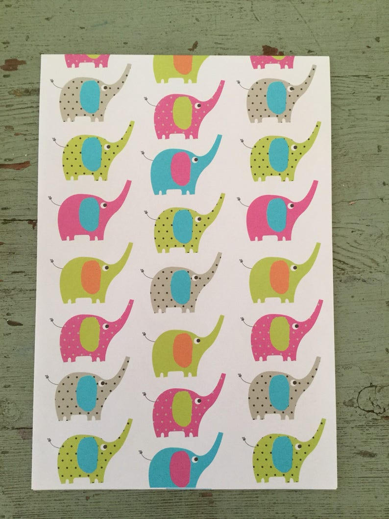 Elephant Gift Wrapping Paper Colorful Elephants Folded