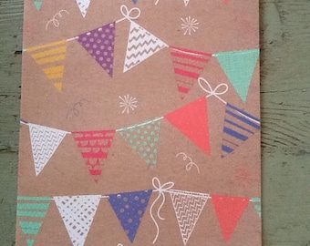 Bunting Flags Kraft Wrapping Paper.  Flag Bunting Folded Wrapping Paper. Kraft Gift Wrap (68X50cm)
