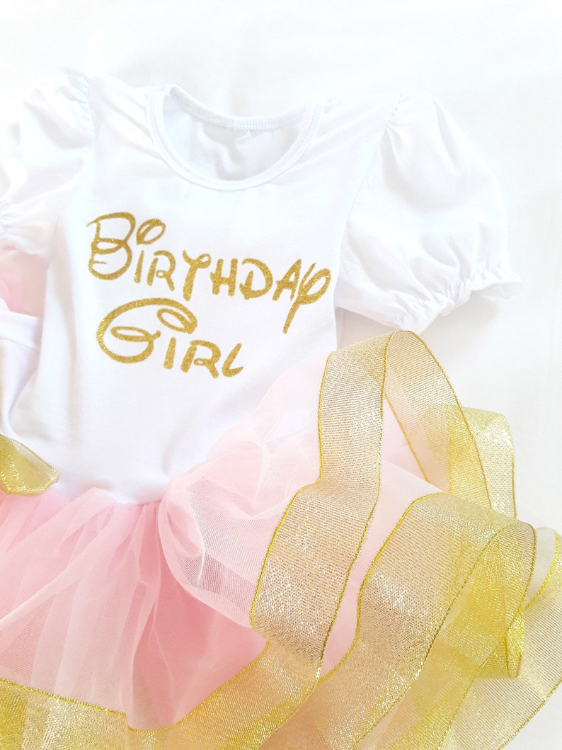 1st Birthday Girl Dress White Pink Gold Outfit First Birthday Fluffy Dress free shipping