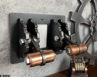 Gear-Shaped Triple-Gang Light Switch Cover with Rocker Plate Space in Center. Steampunk Industrial Functional Metal Art. Unique Modern.