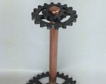Paper Towel Holder / Industrial / Steampunk / Gear / Steel / Copper / Unique / Urban Industrial / Gifts for Kitchen / Industrial Chic