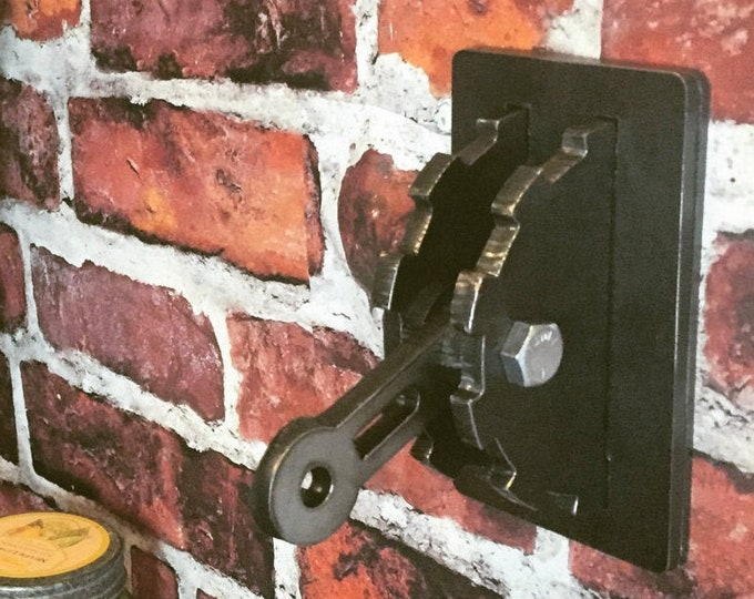 Featured listing image: Steampunk Gear Light Switch Cover with Lever /Steel/ Industrial Lighting / Metal Art/ Man Cave/ Unique Lighting/ Gifts for Geeks/ Nerds