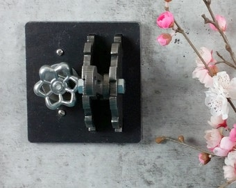 Dimmer Light Switch Cover / DOUBLE-gang / Gear & Lever / Steel / Urban Industrial / Steampunk Lighting / Garden Hose Light / Industrial Chic