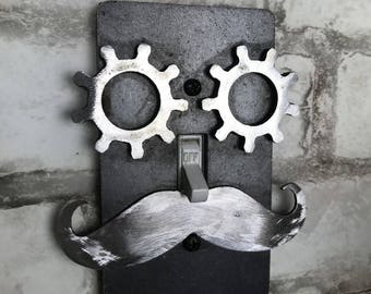 Steampunk Light Switch Cover / Steampunk Face / Mustache Face / Steampunk Gear Eyes / Steampunk Gift / Steampunk Home / Man Cave / Unique