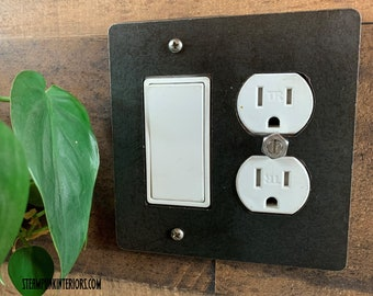 Steel Rocker Decora Outlet Light Switch Cover / Double-gang Light Switch / Industrial Lighting / Unique Lighting / Modern Decor / Wall Plate
