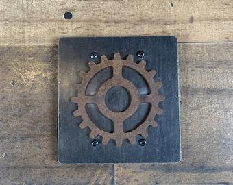 Steel Blank Wall Plate / Double Gang / Gear Blank Wall Plate / Steampunk Blank Wall Plate / Industrial Blank Wall Plate / Blank Wall Plate
