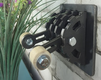 Gear Shaped Double Light Switch Cover with Wooden Handles and Center Cutouts. Steel Steampunk Industrial Modern Rustic Unique Lighting Decor