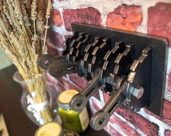 Steampunk Quadruple Light Switch Cover w/ Levers. Steel. Gear Shaped. Functional, Industrial Modern Art.