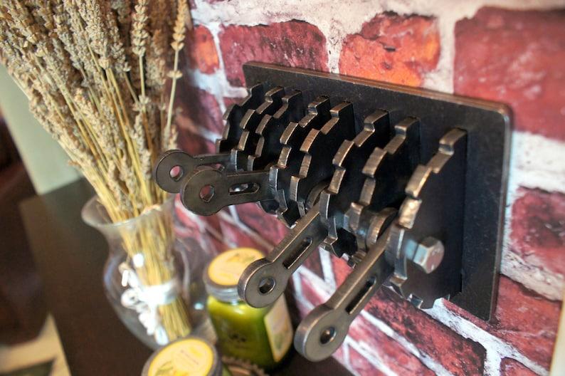Steampunk Quadruple Light Switch Cover w/ Levers. Steel. Gear image 0