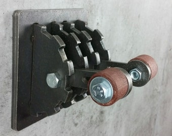 Industrial Steampunk Double Light Switch Plate with Wood Handles & Lever / Functional Metal Art / Unique Light / Gift for Him/ Man Cave